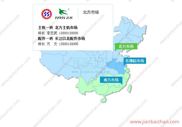 jQuery中国地图网点提示信息、销售图片展示