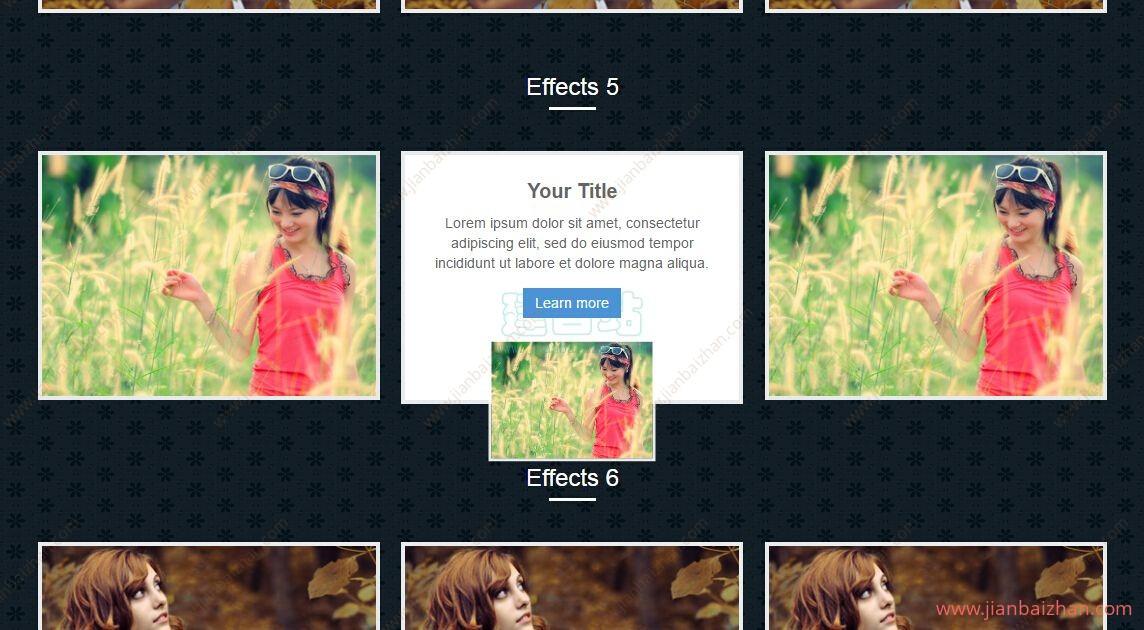 纯CSS3鼠标滑过图片文字动画特效